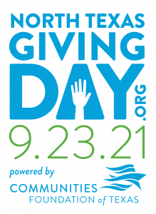 Text saying North Texas Giving Day.org 9.23.21. Powered by Communities Foundation of Texas.