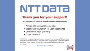 """Slide from presentation which says """"NTT DATA. Thank you for your support!"""""""