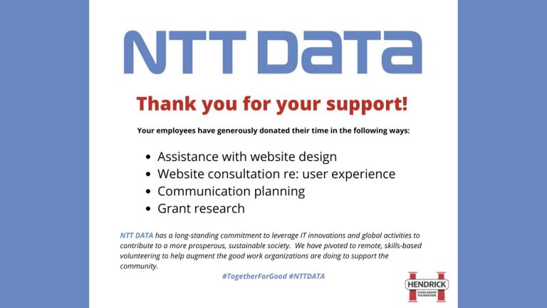 "Slide from presentation which says ""NTT DATA. Thank you for your support!"""